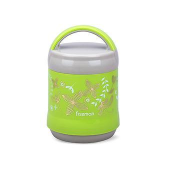 Термос-контейнер для пищи с широким горлом 1200 мл ЗЕЛЕНЫЙ (пластиковый корпус со стеклянной колбой) Fissman 7935 - Minim