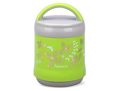 Термос-контейнер для пищи с широким горлом 1200 мл ЗЕЛЕНЫЙ (пластиковый корпус со стеклянной колбой) Fissman 7935 (1)