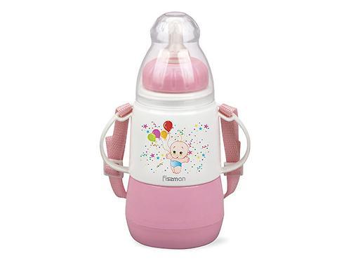 Термобутылочка для кормления с соской Fissman 150 мл Розовая (пластиковый корпус со стеклянной колбой) 7952 (1)