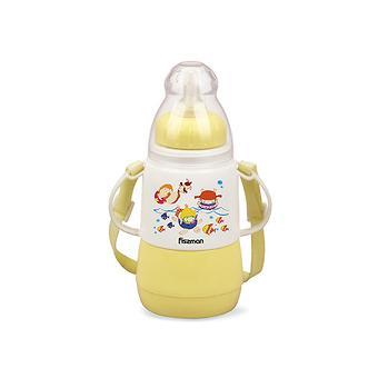 Термобутылочка для кормления с соской 150 мл ЖЕЛТАЯ с двойными стенками (пластик) Fissman 7953 - Minim
