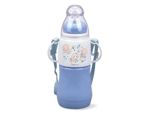 Термобутылочка для кормления с соской Fissman230 мл Голубая (пластиковый корпус со стеклянной колбой) 7955 (1)