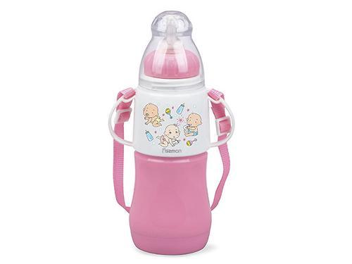 Термобутылочка для кормления с соской Fissman 230 мл Розовая (пластик. корпус со стеклянной колбой) 7956 (1)