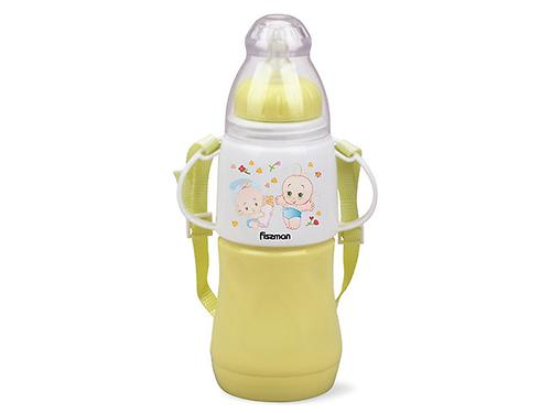 Термобутылочка для кормления с соской 230 мл ЖЕЛТАЯ с двойными стенками (пластик) Fissman 7957 (1)