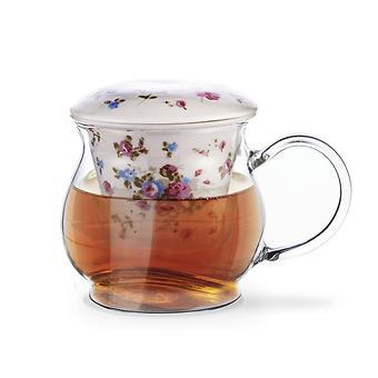 Кружка для чая CASABLANCA 500 мл с керамическим фильтром и крышкой (стекло) Fissman 9271 - Minim
