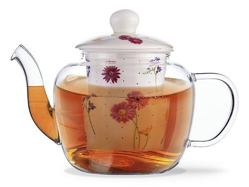 Заварочный чайник CASABLANCA 1000 мл с керамическим фильтром и крышкой (стекло) Fissman 9273 (1)