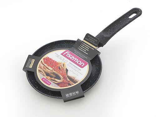 Сковорода для блинов JESOLO 18x2,0 см с индукционным дном, ЧЕРНЫЙ мраморный цвет (алюминий с антипригарным покрытием) Fissman 4710 (1)