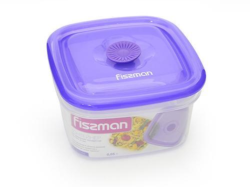 Квадратный контейнер для хранения продуктов 13x13x7,5 см / 0,65 л (пластик) Fissman 6772 (1)
