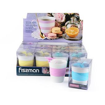 Стакан 280 мл с ситечком для заваривания чая БАБОЧКА (керамика, силикон) Fissman 9320 - Minim