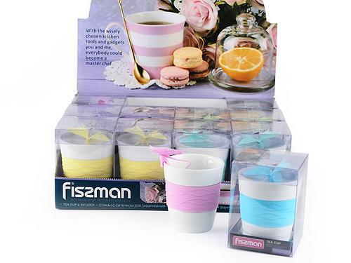 Стакан 280 мл с ситечком для заваривания чая БАБОЧКА (керамика, силикон) Fissman 9320 (1)