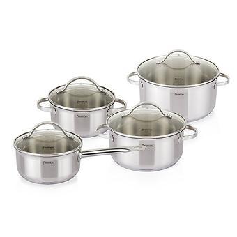 Набор посуды GABRIELA 8 пр. со стеклянными крышками (нерж. сталь) Fissman 5816 - Minim