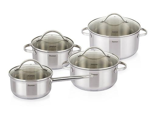 Набор посуды GABRIELA 8 пр. со стеклянными крышками (нерж. сталь) Fissman 5816 (1)