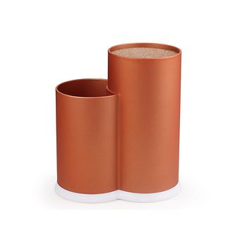 Универсальная подставка с двумя отделениями для хранения ножей и инструментов 11x22 + 11x17 см, цвет ЗОЛОТОЙ (пластик) Fissman 2895 - Minim