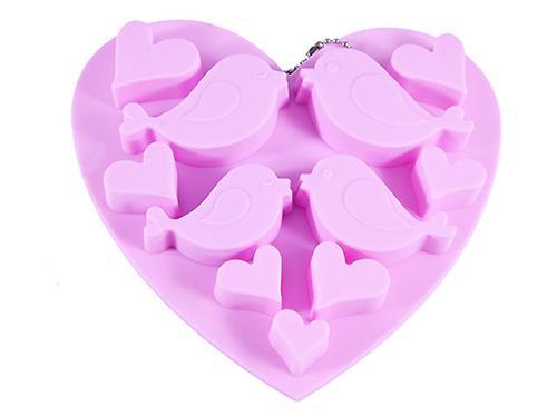 Форма для льда или шоколада Fissman 11 ячеек ПТИЦЫ И СЕРДЕЧКИ 15x14,5x1,5 см ЧАЙНАЯ РОЗА (силикон) 6546 (1)
