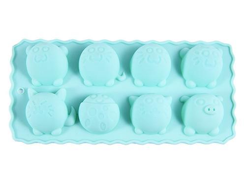 Форма для льда или шоколада Fissman 8 ячеек КРУГЛЫЕ ЗВЕРЯТА 22x10,5x2,8 см АКВАМАРИН (силикон) 6549 (1)