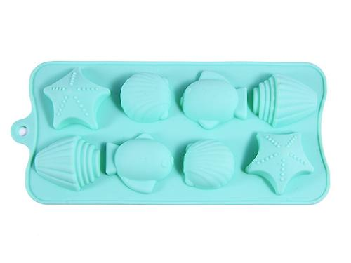 Форма для льда или шоколада Fissman 8 ячеек ДАРЫ МОРЯ 18x10x2 см АКВАМАРИН (силикон) 6550 (1)
