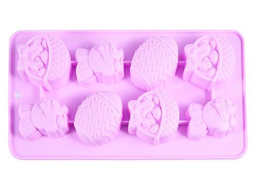 Форма для льда или шоколада Fissman 8 ячеек ПАСХАЛЬНЫЙ КРОЛИК 20,8x10,8x1,8 см ЧАЙНАЯ РОЗА (силикон) 6553 (1)