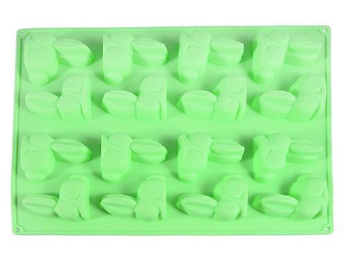 Форма для льда или шоколада Fissman 16 ячеек ЗАЙЦЫ 29x22,5x1,7 см ЗЕЛЕНЫЙ ЧАЙ (силикон) 6556 (1)