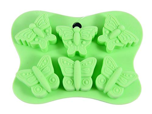 Форма для льда или шоколада 6 ячеек Fissman БАБОЧКИ 14x10,5x2 см ЗЕЛЕНЫЙ ЧАЙ (силикон) 6558 (1)