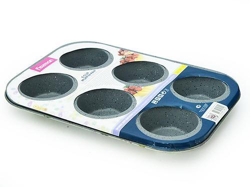 Форма для выпечки 6 кексов 26x18x3 см с узором (углеродистая сталь с антипригарным покрытием) Fissman 5621 (1)