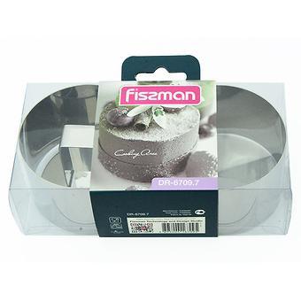 Набор из двух круглых кулинарных колец с прессом 7x4,5 см (нерж. сталь) Fissman 6709 - Minim