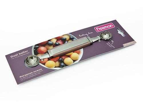 Фигурная ложка для фруктов и овощей двухсторонняя 2,8 / 2,5 см (нерж. сталь) Fissman 8692 (3)