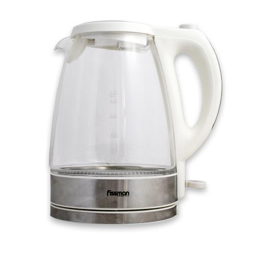 Чайник электрический APPETITE белый 1,7 л с прозрачным корпусом (нерж. сталь) Fissman 5903 (1)
