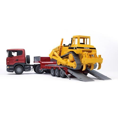 Тягач с прицепом–платформой Scania с гусеничным бульдозером CAT (подходит модуль со звуком и свето (7)