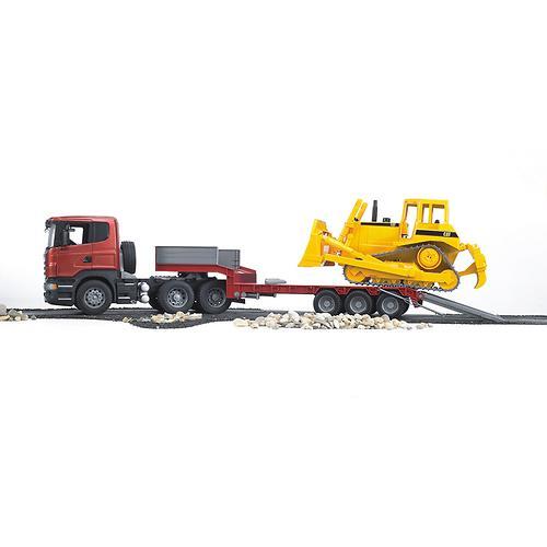 Тягач с прицепом–платформой Scania с гусеничным бульдозером CAT (подходит модуль со звуком и свето (8)