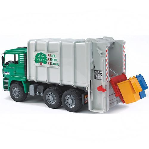 Мусоровоз MAN цвет кузова - Белый, кабины – Зеленый, подходит модуль со звуком и светом H (4)
