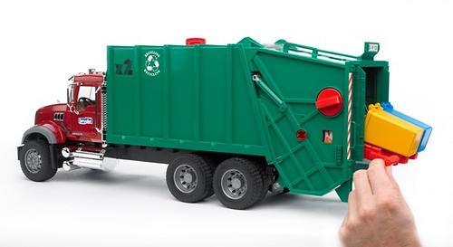 Мусоровоз MACK (зелёный фургон, красная кабина) (7)