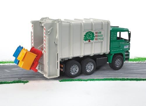 Мусоровоз MAN цвет кузова - Белый, кабины – Зеленый, подходит модуль со звуком и светом H (5)