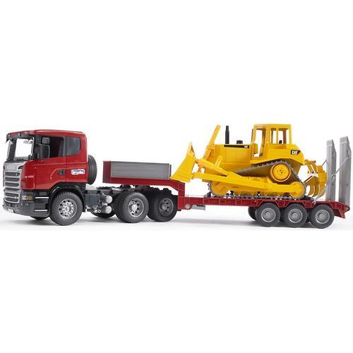 Тягач с прицепом–платформой Scania с гусеничным бульдозером CAT (подходит модуль со звуком и свето (5)