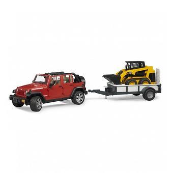 Внедорожник Jeep Wrangler Unlimited Rubicon c прицепом-платформой и колёсным мини погрузчиком CAT - Minim