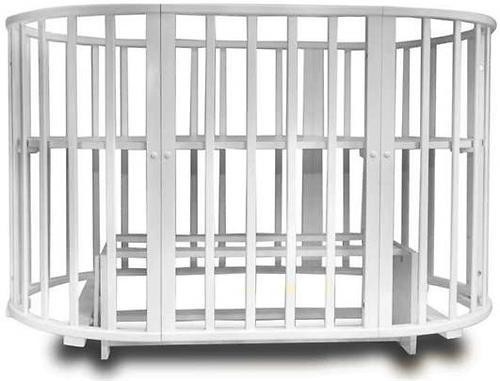 Кроватка-трансформер Incanto Mimi овальная 7в1 Серая элит (10)