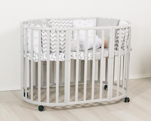 Кроватка-трансформер Incanto Mimi овальная 7в1 Серая элит (8)