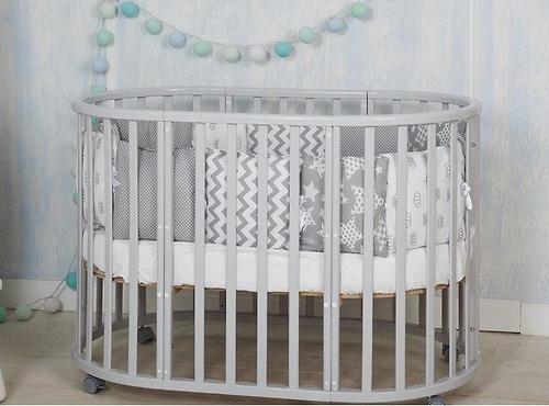 Кроватка-трансформер Incanto Mimi овальная 7в1 Серая элит (9)