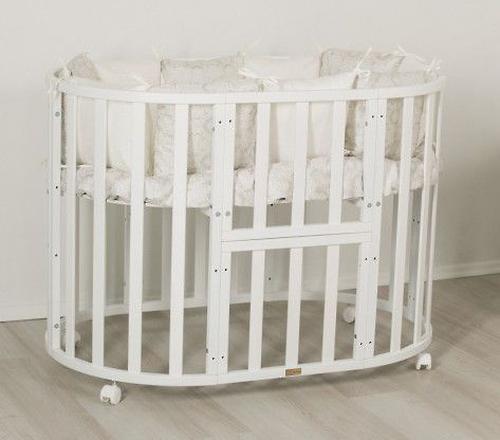 Кроватка-трансформер 7в1 Uomo Da Vinci овальная Белая (6)