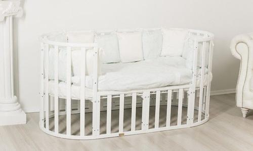Кроватка-трансформер 7в1 Uomo Da Vinci овальная Белая (9)