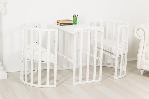Кроватка-трансформер 7в1 Uomo Da Vinci овальная Белая (10)
