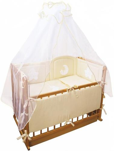 Комплект в кроватку Крошкин дом 7 предметов Спать пора Персиковый (3)