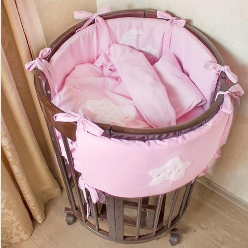 Комплект в кроватку Крошкин дом Спать пора 11 предметов Розовый (4)
