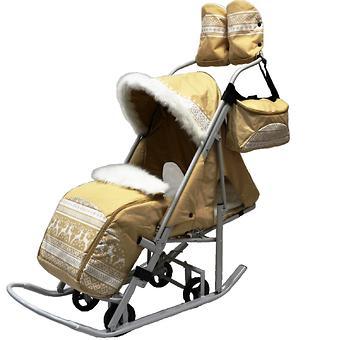 Санки-коляска Тяни-Толкай Северные Узоры Бежевый - Minim