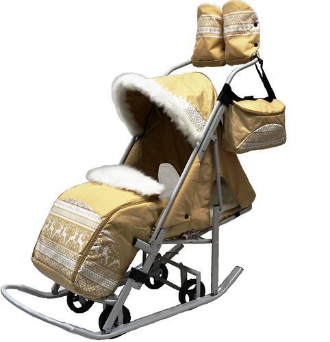 Санки-коляска Тяни-Толкай Северные Узоры Бежевый (3)