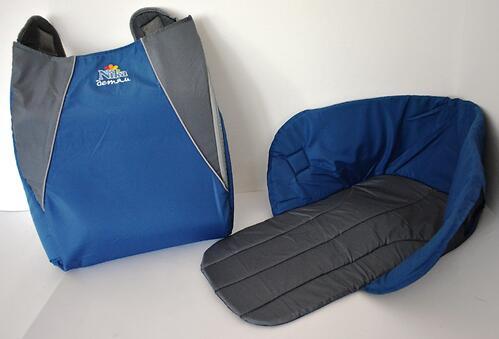 Сиденье мягкое на санки с чехлом для ног голубое (6)