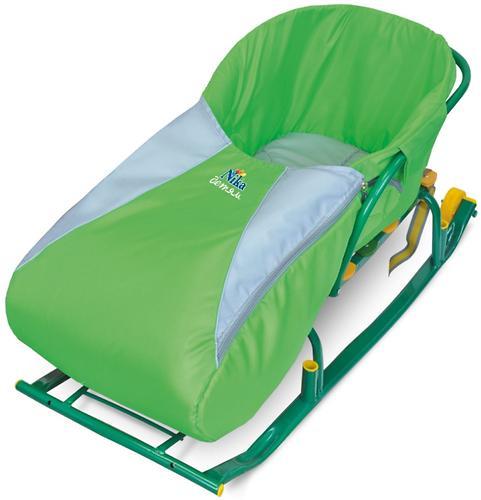 Сиденье мягкое на санки с чехлом для ног зеленое (4)