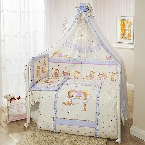 Постельное белье Perina Ника Мишка на подушке лиловый 7 предметов (4)