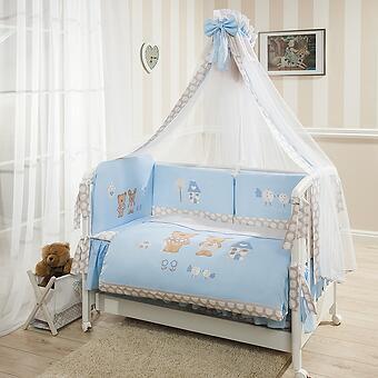 Постельное белье Perina Венеция Лапушки голубые 7 предметов - Minim
