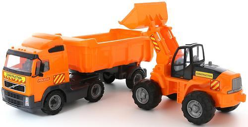 Автомобиль-самосвал Полесье Volvo с полуприцепом + трактор-погрузчик в коробке (4)