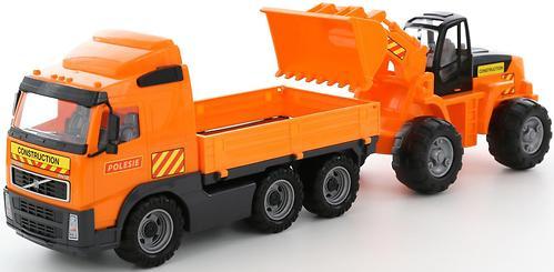 Автомобиль Полесье Volvo бортовой + трактор-погрузчик в коробке (3)