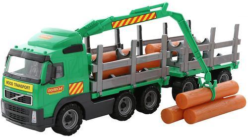 Автомобиль-лесовоз Полесье Volvo с прицепом в коробке (4)